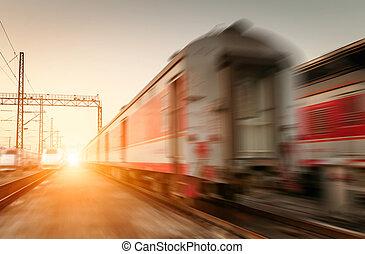 élevé, moderne, deux, mouvement, train, barbouillage, vitesse