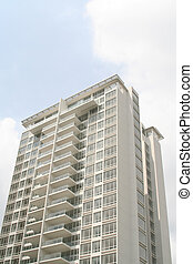 élevé, nouveau, monter, condominium