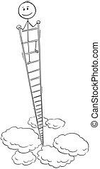 élevé, ou, autour de, très, échelle, dessin animé, regarder, homme affaires, sourire, sommet, homme