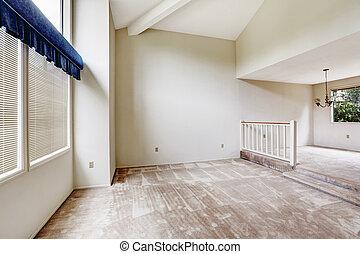 élevé, plafond, plancher, maison, voûté, intérieur, empy, moquette