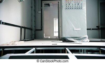 élevé, plancher, maison, constructeur, là, panoramique, fond, sous, construction., vue