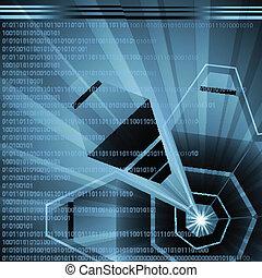 élevé, résumé, vecteur, technologie, futuriste