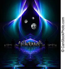 élevé, res, reflété, eau, conception, fond, noir, fractal