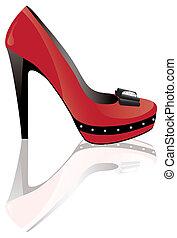 élevé, rouges, talon, chaussure