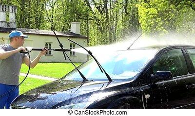 élevé, sien, lavage, jet, voiture, outillage, ouvrier, automobile., pression eau, homme