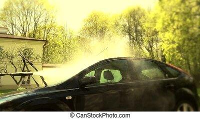 élevé, sien, lavage, jet, voiture, pare-brise, pression eau, box, homme