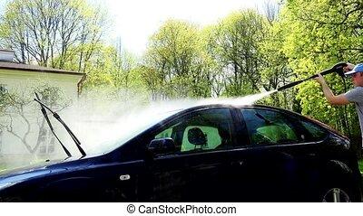 élevé, sien, lavage, jet., voiture, pression eau, utilisation, homme
