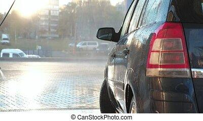 élevé, sien, lavage, voiture, eau, pression, dehors, homme