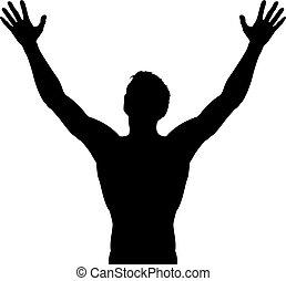 élevé, silhouette, bras, homme