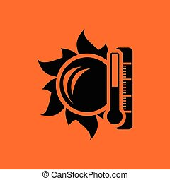 élevé, soleil, icône, température, thermomètre