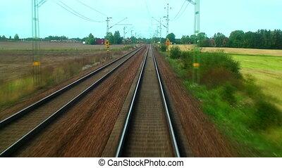 élevé, train, vitesse, conduite