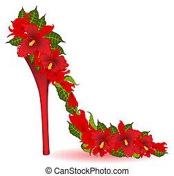 élevé, vecteur, talon, orchids., rouges