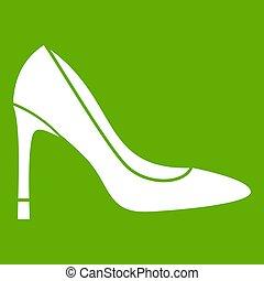 élevé, vert, chaussure, talon, icône