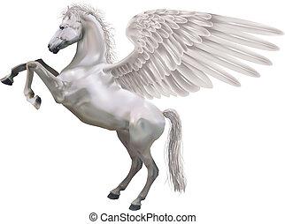 élevage, pégase, illustration, cheval