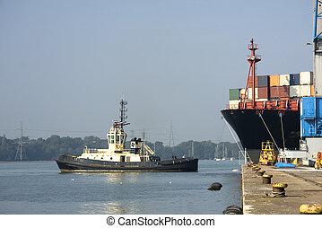 émerge, cargo, dock
