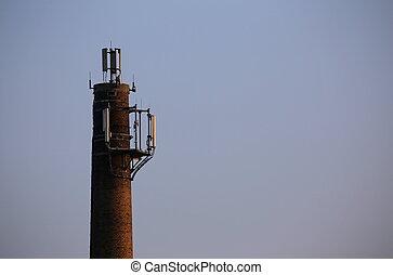 émetteur, radio, cheminée