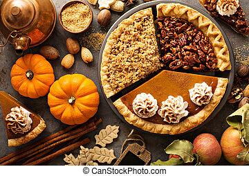 émietter, citrouille, pomme, pecan, traditionnel, automne, tartes