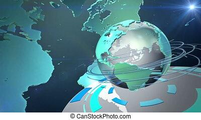 émission, mondiale, animation, boucle