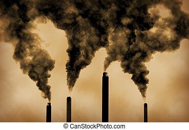 émissions, global, usine, chauffage, pollution