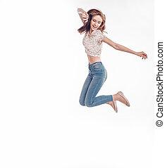 émotif, girl, heureux, jean, portrait