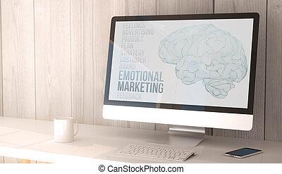 émotif, informatique, bureau, commercialisation