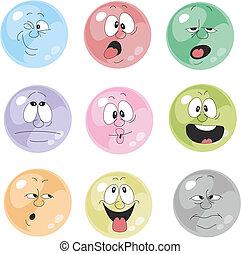 émotion, 001, ensemble, sourires, multicolore