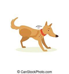 émotion, brun, chouchou, chien, illustration, animal, grattement, dessin animé, puces