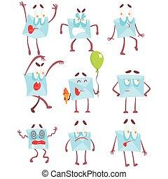 émotion, ensemble, caractère, envelopper, illustrations, courrier, dessin animé