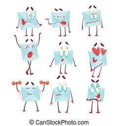 émotion, ensemble, envelopper, caractère, lettre, illustrations, dessin animé