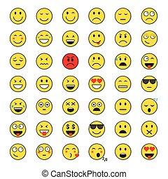 émotion, ensemble, gens, positif, négatif, type caractère jaune, sourire, icône