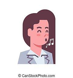émotion, femme, femme, chant, isolé, figure, concept, avatar, expression faciale, icône