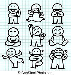 émotion, graphique, paper., bleu, dessin animé