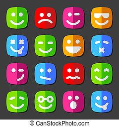 émotion, plat, icônes, smiley, vecteur, faces