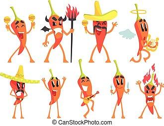 émotion, poivre, ensemble, caractère, illustrations, piment, dessin animé