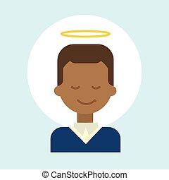 émotion, profil, ange, nimbus, figure, américain, homme, africaine, icône, portrait, sourire, mâle, dessin animé, heureux