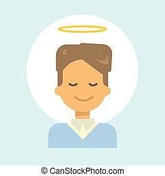 émotion, profil, ange, nimbus, figure, homme, icône, portrait, sourire, mâle, dessin animé, heureux