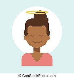 émotion, profil, femme, ange, nimbus, figure, américain, africain femelle, icône, portrait, sourire, dessin animé, heureux