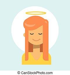 émotion, profil, femme, ange, nimbus, figure, femme, icône, portrait, sourire, dessin animé, heureux