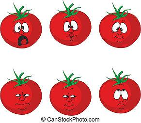 émotion, tomate, ensemble, légumes, 007, dessin animé, rouges