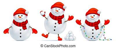 émotions, poses, ensemble, bonhomme de neige, différent