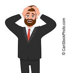 émotions, tension, corps, conception, expressions, tête, jeune, vecteur, tenue, style., concept, homme affaires, langue, tension, dessin animé, caractère, illustration., mâle, choqué, hands., facial, migraine