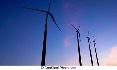 énergie éolienne, animation, hd, coucher soleil, vidéo, 4k, plante, ultra, -