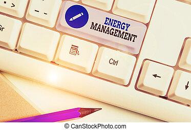 énergie, concept, business, manière, conserver, texte, mot, écriture, contrôler, management., usage., poursuite