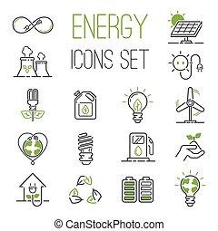 énergie, icônes, vecteur, set.