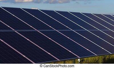 énergie, installed, field., panneaux solaires, vue