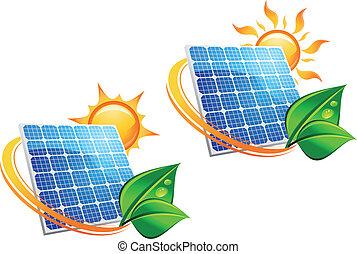 énergie, panneau, solaire, icônes