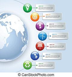 énergie, vert, infographics