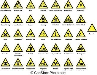 énorme, collection, danger, signes
