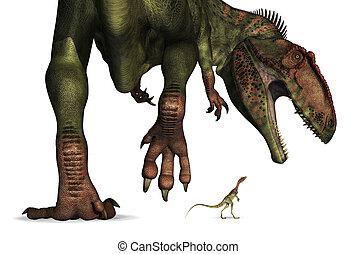 énorme, comparaison, -, minuscule, dinosaure, taille