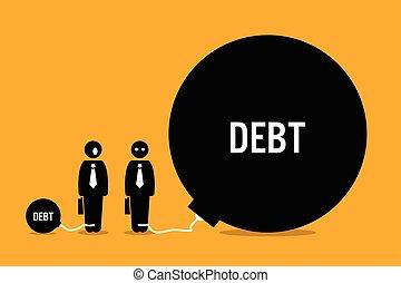 énorme, gens, autre, debt., surpris, homme